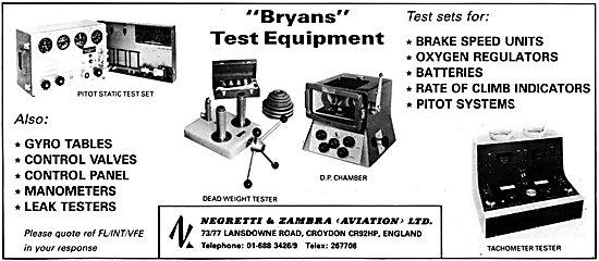 Negretti & Zambra Aviation Bryans Test equipment