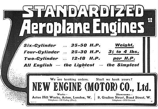 New Engine Co: Standardized Aeroplane Engines: 12-50 HP