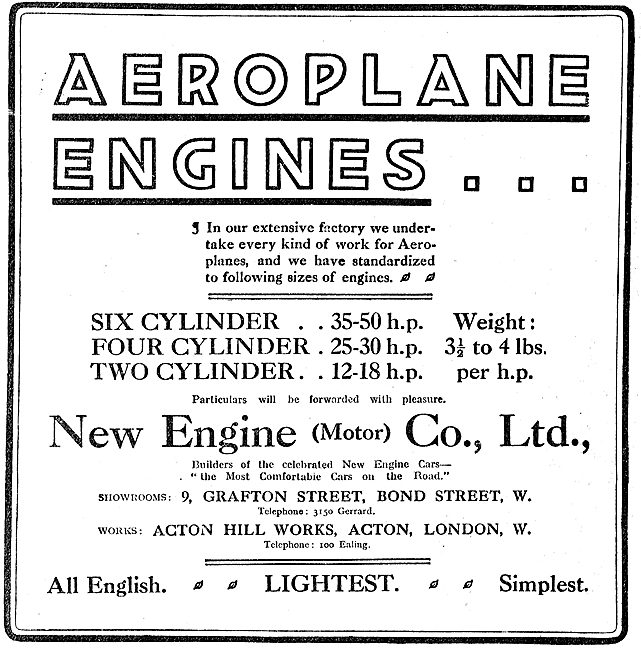 New Engine All British Aeroplane Motors - 12 to 50 HP