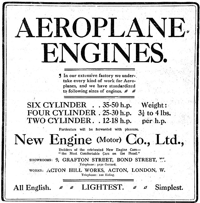 New Engine (NEC) Two, Four & Six Cylinder Aero Engines