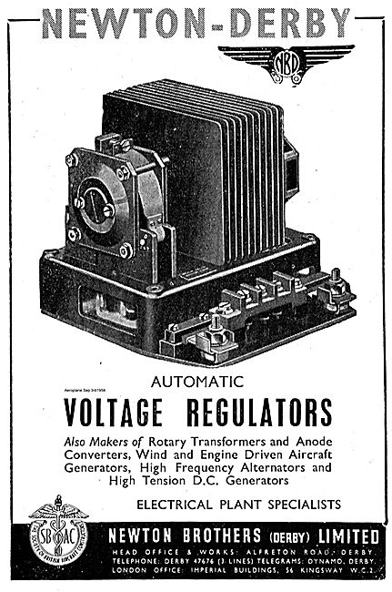 Newton-Derby Automatic Voltage Regulators For Aircraft