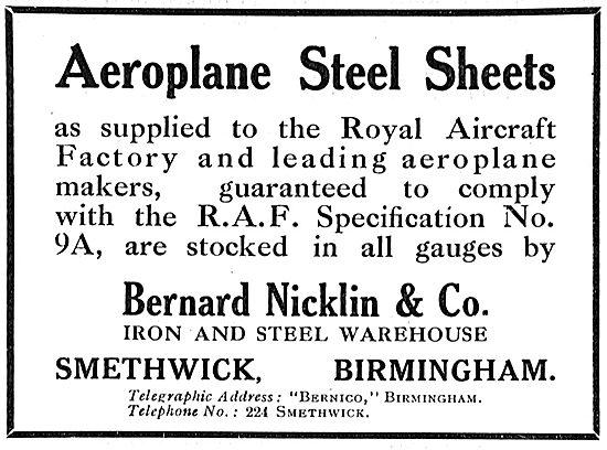 Bernard Nicklin & Co. Smethwick. Aeroplane Steel Sheets