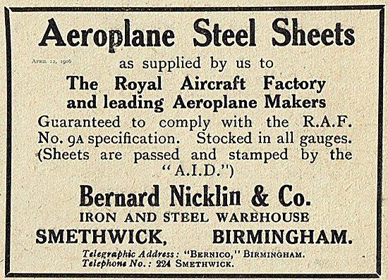 Bernard Nicklin & Co For Aeroplane Steel Sheets