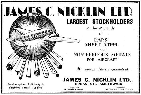 James C.Nicklin & Co. Smethwick. Aeroplane Steel Sheets
