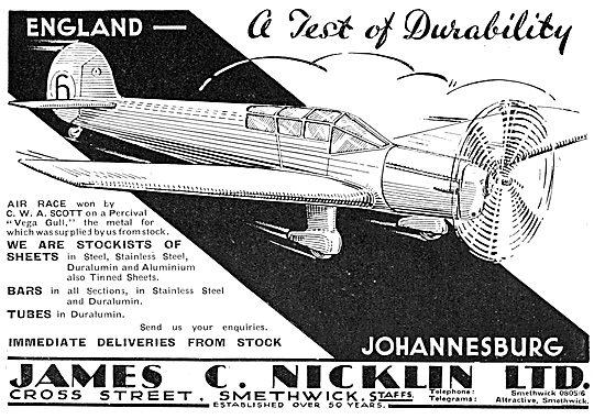 James C. Nicklin & Co. Smethwick. Aeroplane Steel Sheets