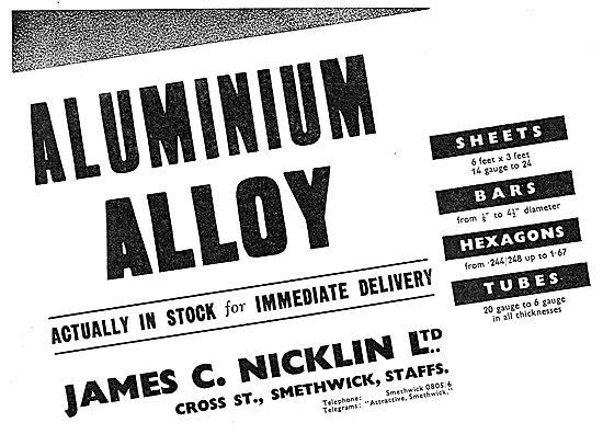 James C. Nicklin Ltd. Smethwick. Aluminium Alloys