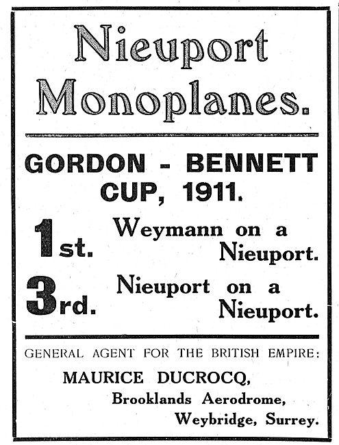Nieuport Monoplanes - Gordon Bennett Cup