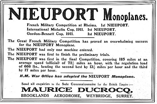 H.M War Office Adopts Nieuport Monoplanes