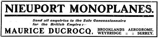 Nieuport Monoplanes: Empire Concessions M.Ducrocq Brooklands