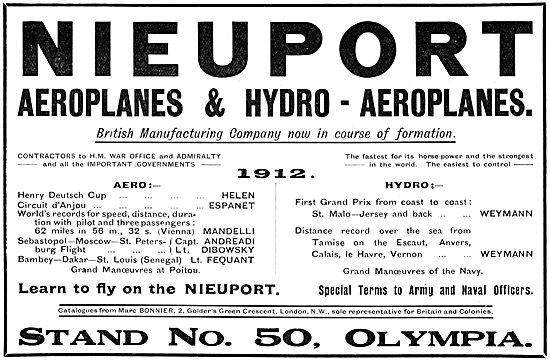 Nieuport Aeroplanes & Hydro-Aeroplanes 1913
