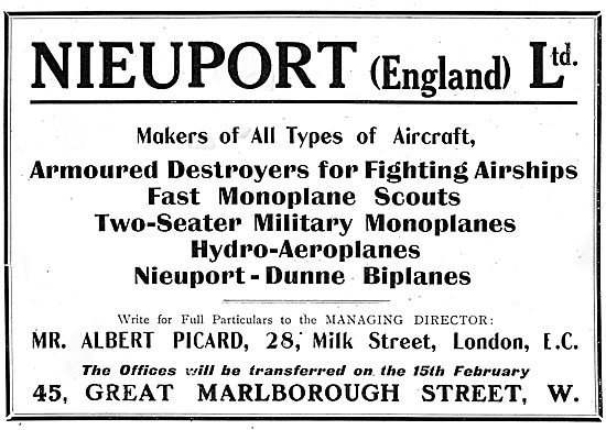 Nieuport (England) Makers Of All Types Of Aircraft