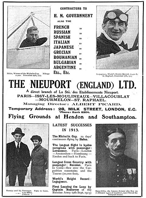 Nieuport (England) Aeroplane Manufacturers. Winners Michelin Cup