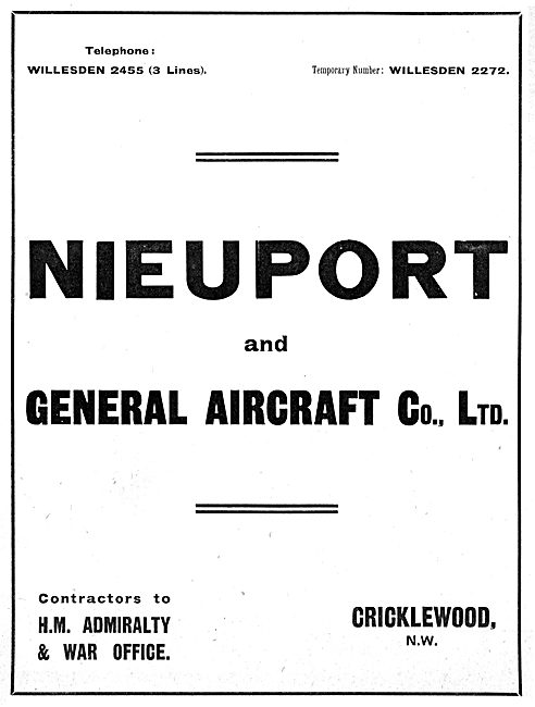 Nieuport & General Aircraft Co Ltd - 1916
