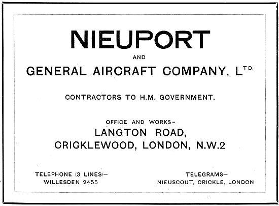 Nieuport & General Aircraft Compnay Ltd - Langton Rd Cricklewood