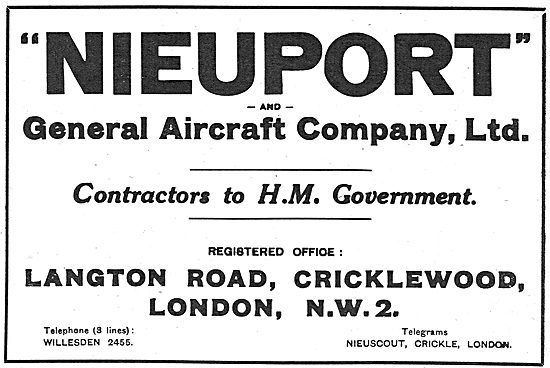 Nieuport & General Aircraft Co: Langton Rd, Cricklewood. NW2