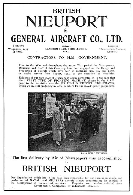 Nieuport Aircraft - Newspapers Delivered By Air