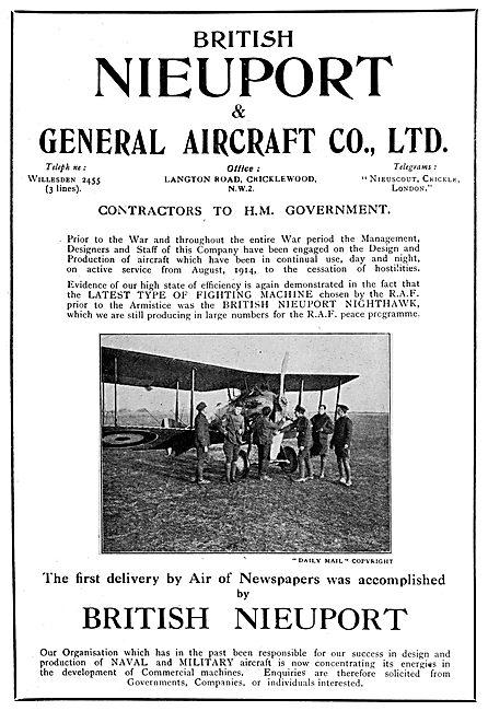 British Nieuport Aircraft