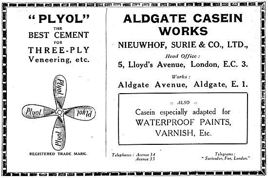Nieuwhof Surie Plyol Wood Cement. WW1 Advert