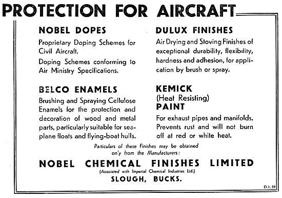 Nobel Aircraft Dopes, Enamels & Paints 1933
