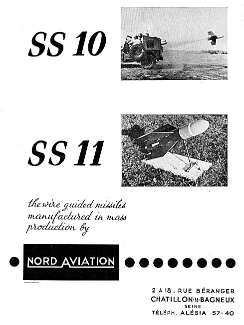 Nord Aviation SS10 & SS11 Wire Guided Surface To Air Missiles