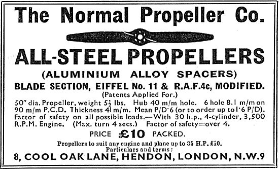 Normal Propeller Co - All Steel Propellers. Eiffel No 11