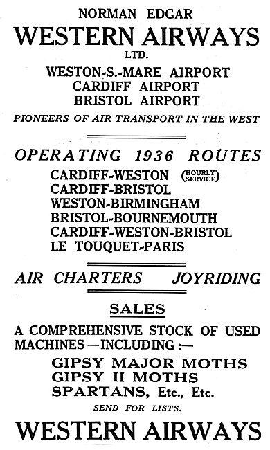 Norman Edgar - Western Airways. 1936 Routes