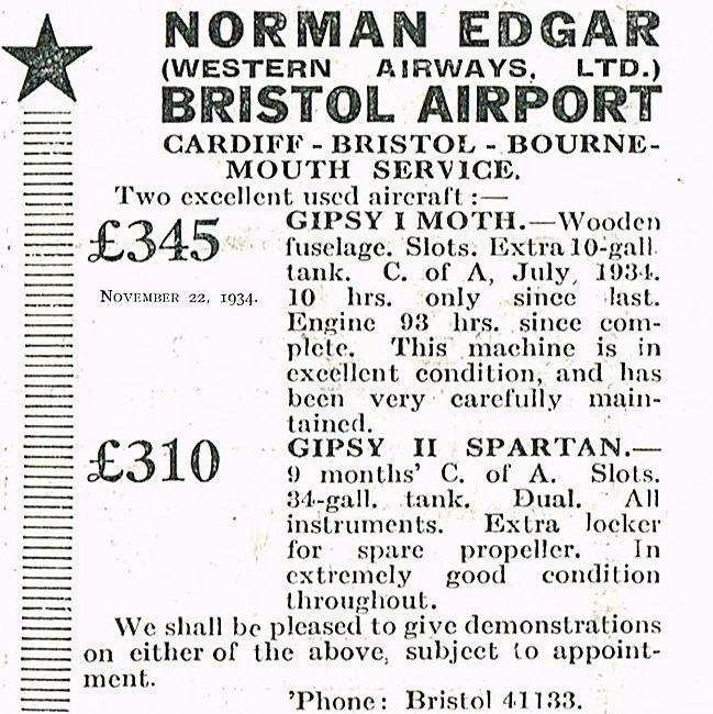 Norman Edgar Aircraft Sales At Bristol Airport