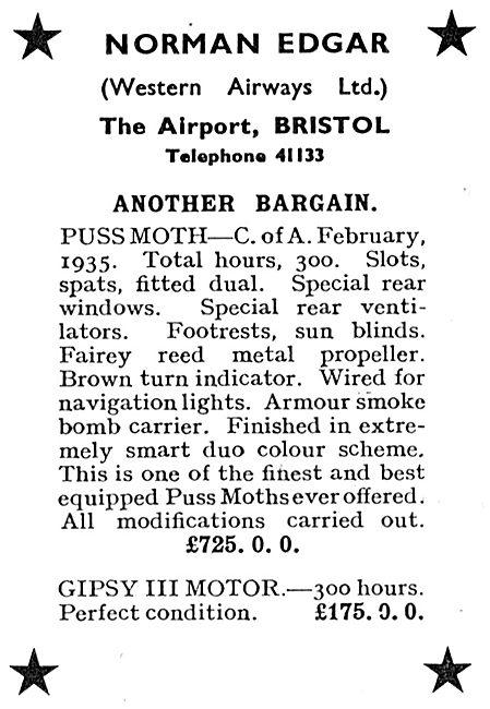 Norman Edgar, Bristol Airport Aircraft Sales