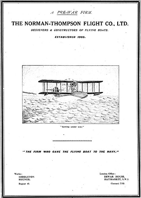 Norman Thompson. Bognor. Designers & Constructors Of Flying Boats
