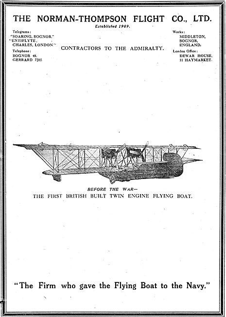 Norman Thompson  Built The First Twin Engine Flying Boat