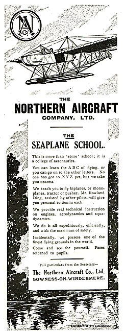 Northern Aircraft Co. Aeroplane Builders & Flying School.