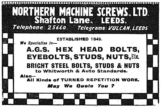 Northern Machine Screws. Shafton Lane, Leeds.  AGS Parts 1919