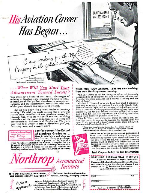Northrop Aeronautical Institute 1950 Advert