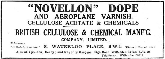 Novellon Dope & Aeroplane Varnish. British Cellulose Spondon