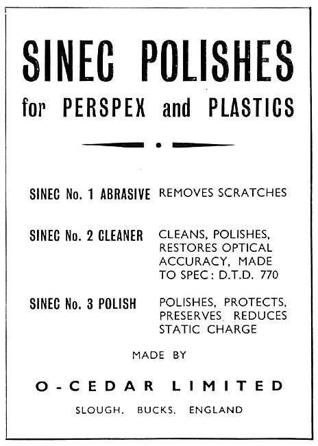 O-Cedar. Slough : Sinec Polish For Perspex & Plastics