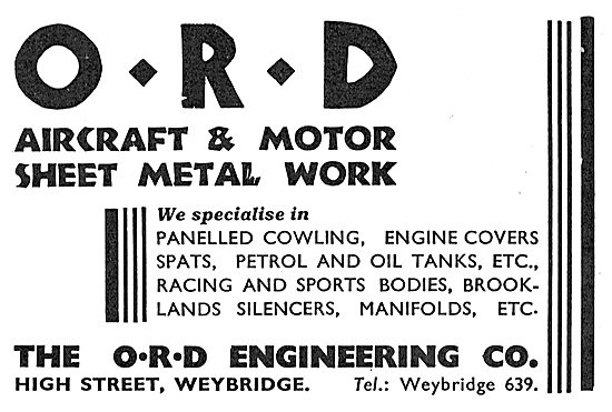 The ORD Engineering Co Weybridge - Sheet Metal Work