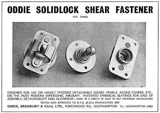 Oddie Shear Fasteners For Highly Stressed Aircraft Panels