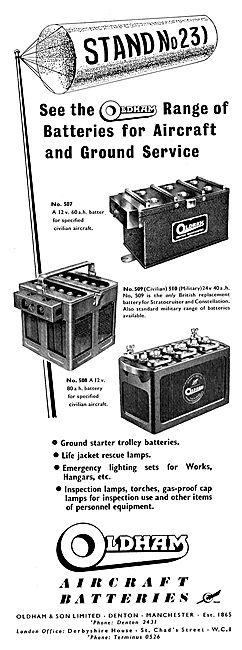 Oldham Aircraft & Ground Starter Trolley Batteries. Trolley Acc