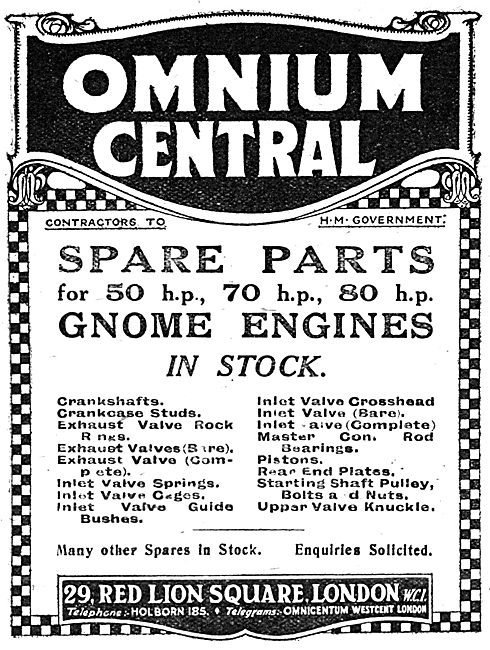 Omnium Central - Gnome Aero Engine Spares. 1917 Advert