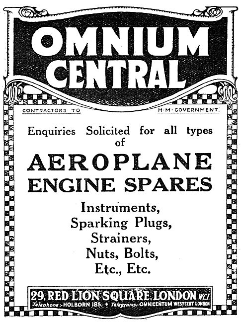 Omnium Central - WW1 Aero Engine Spares 1917 Advertisement