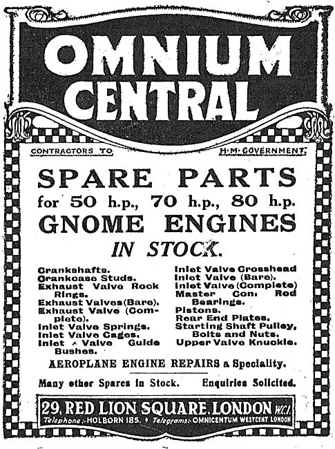 Omnium Central - Aero Engine Spares - 29 Red Lion Sq, WC1