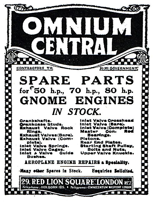 Omnium Central - Gnome Aero Engine Spares 1919