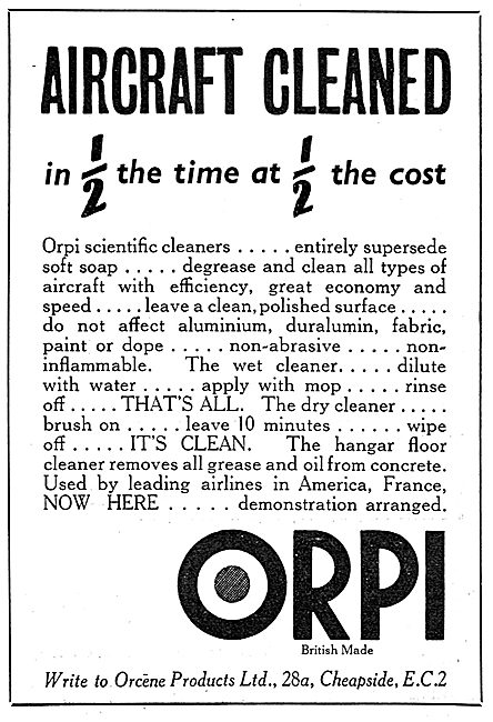 Orcene Products Ltd. ORPI Aircraft Cleaning Materials