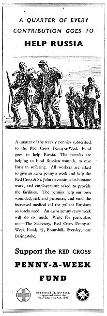 The Red Cross Penny A Week Fund. 1943. Send Aid To Russia