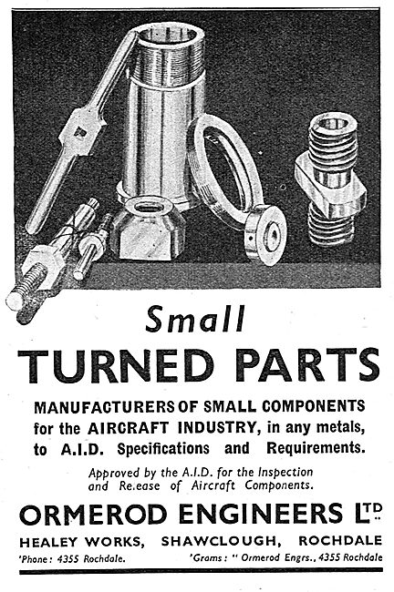 Ormerod Engineers. Shawclough, Rochdale. Small Turned Parts 1939