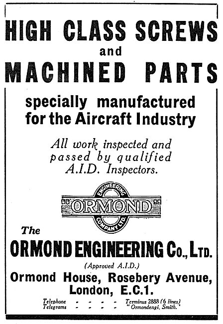 Ormond Engineering. Machined Parts For Aircraft 1937