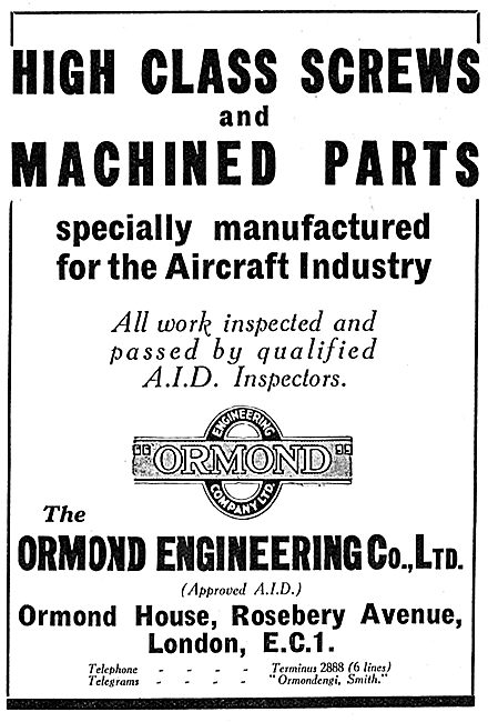 Ormond Engineering. Machined Parts For The Aircraft Industry