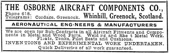 The Osborne Aircraft Components - Greenock. Aero Engineers