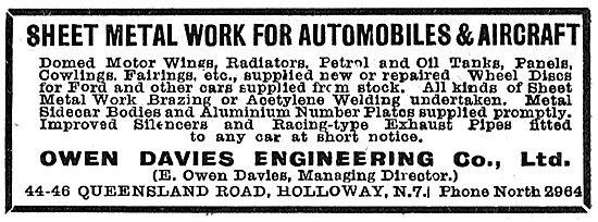 Owen Davies Engineering - Aircraft Sheet Metal Work 1919