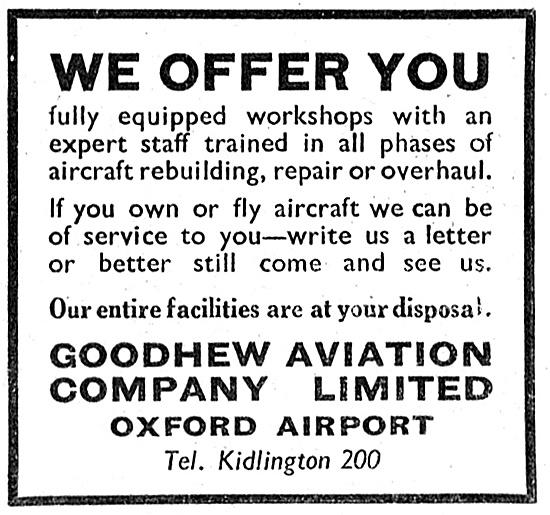 Goodhew Aviation Oxford Airport. Aircraft Maintenance 1947